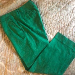 Green brocade ankle pant